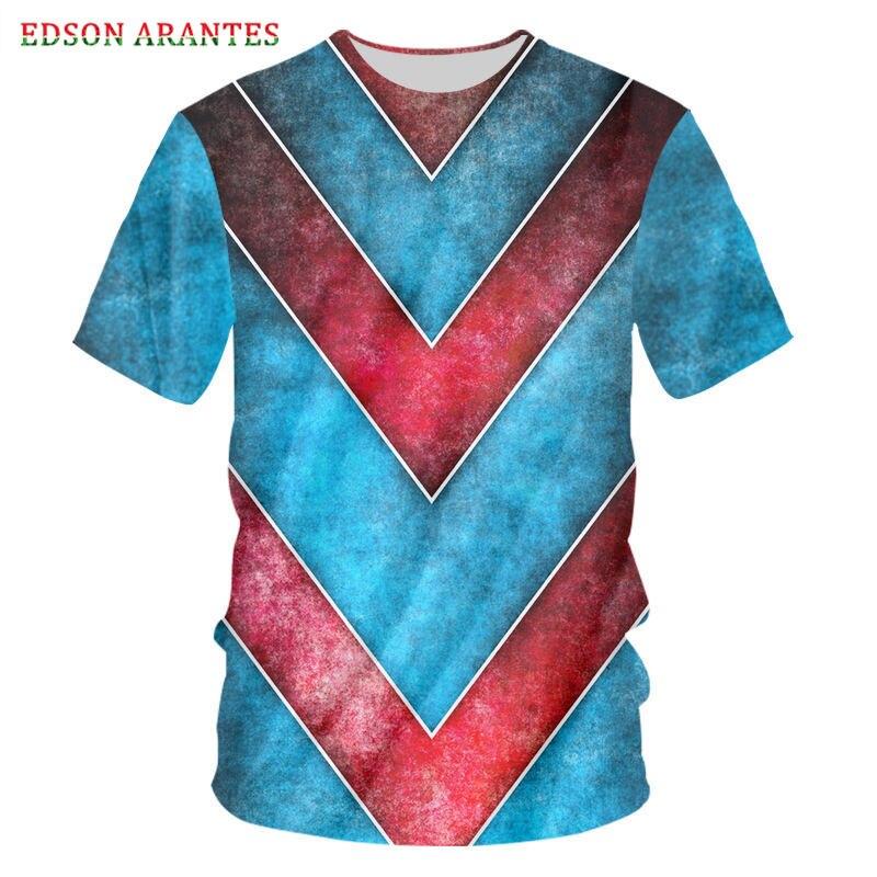 Cool rojo azul rayas 3D imprimir camiseta Retro hombres mujeres moda Camiseta estilo Harajuku camisetas de manga corta Hombre Camisetas para