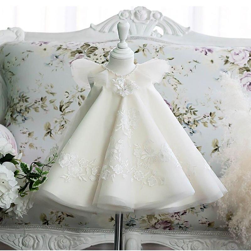 فستان التعميد بالدانتيل الأبيض للأطفال بعمر 1 سنة ، فستان حفلات أعياد الميلاد بدون أكمام ، زي الأميرة للفتيات من سن 1 إلى 10 سنوات