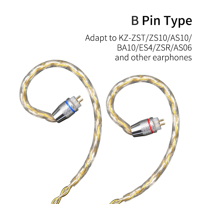 KZ Earphones Gold Silver Mixed plated Upgrade cable Headphone wire for ZS10 Pro ZSN AS10 AS06 ZST ES4 ZSN Pro BA10 ES4 ZSX C12 enlarge