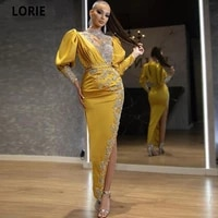 lorie crystal beads yellow satin evening dresses dubai arabic abiye formal prom party gowns with split 2021 celebrity dresses