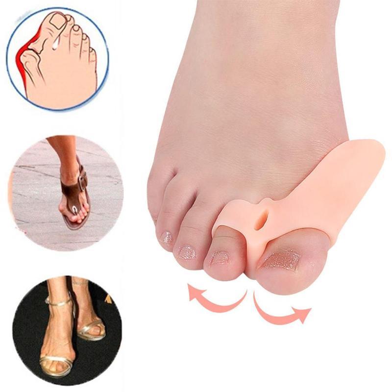 2 Pcs Big Toe Straightener Thumb Valgus Protector Silicone Gel foot fingers Two Hole Toe Separator B