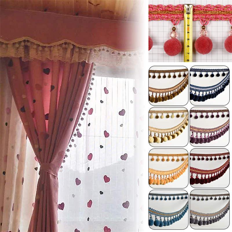 1M Pom Pom Bobble Trim Fringe Curtain Sewing Sofa Tassel Balls Edging Ribbon