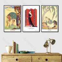 canvas painting poster cartoon fashion abstract painting george barbier illustrator set print for home room gallery wall decorat