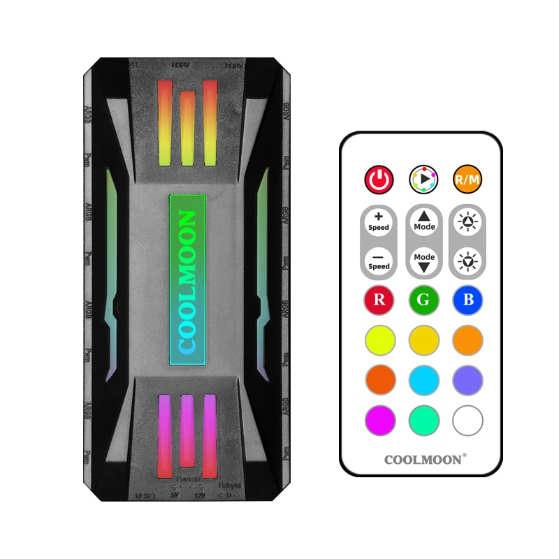 Фото - Coolmoon Multiform HUB PWM Fan Power Supply 1 to 8 HUB Fan Molex 4P Power to 5V 3pin ARGB Controller Support Water Block Fan coolmoon rgb controller 4pin pwm 5v 3pin argb cooling fan smart intelligent remote control for pc case chassis