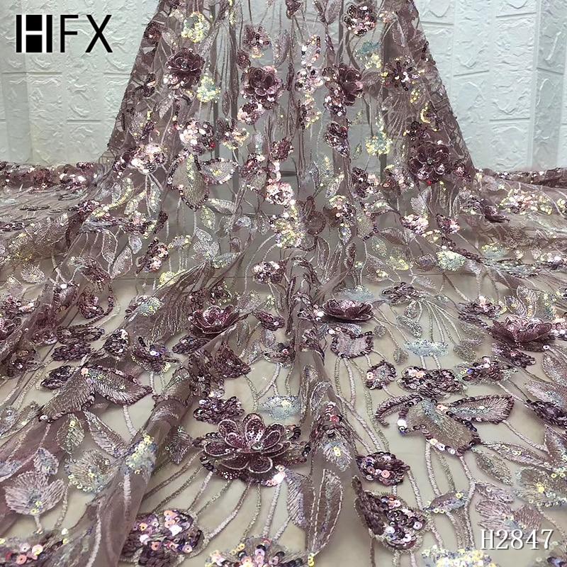 HFX oro rosa brillante secuencia encaje tela encaje francés encajes telas alta calidad tul francés nigeriano encaje apliques vestido H2847