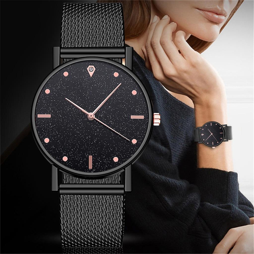 New Business Female Luxury Clock Ladies Quartz Watch Women Dress Stainless Steel Band Analog Quartz