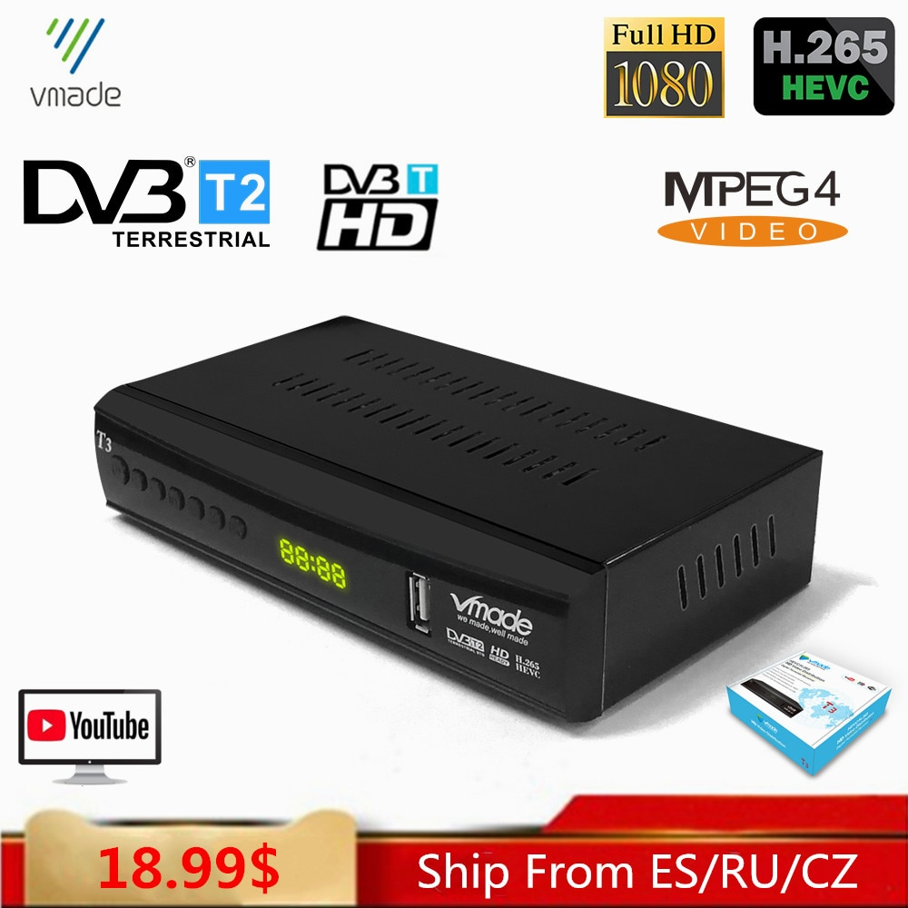 Fully HD 1080P DVB-T2 T3 TV Receiver Support YouTube PVR H.265/HEVC DVB T2 AC3 Audio Digital Terrestrial TV Tuner Decoder недорого