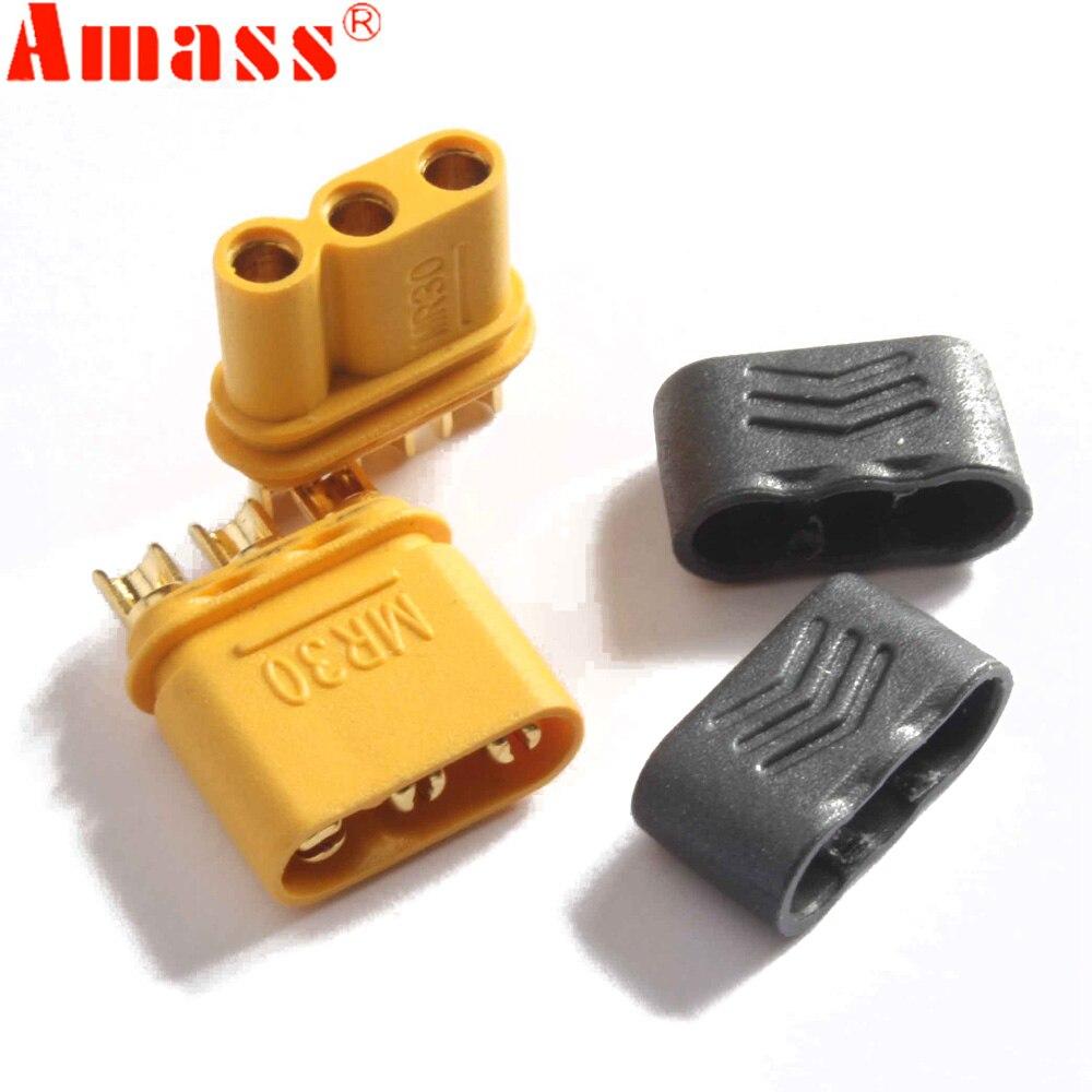 5 pares de conector hembra macho AMASS MR30 con funda para batería Lipo multicóptero con radio control avión