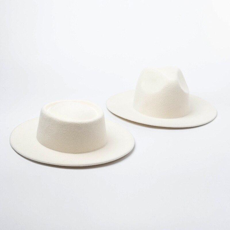 Feminino 100% chapéus de feltro de lã branco aba larga fedoras para festa de casamento chapéus de igreja torta de porco fedora chapéu flexível derby triby chapéus base