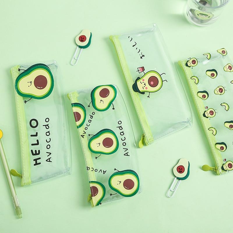 1 шт. кавайный чехол для карандаша милый детский подарок авокадо школьный пенал прозрачная сумка-карандаш, школьные принадлежности Канцтовары