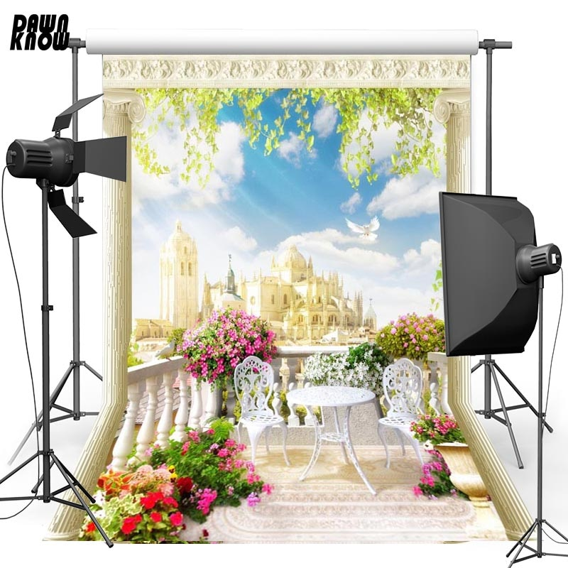 DAWNKNOW Tower Sky Vinyl Photography Background For Family Pigeon New Fabric Polyester Backdrop For Wedding Photo Studio G616