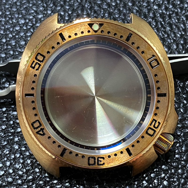 Watch Parts 45mm Sapphire Crystal CUSN8 Bronze Turtle Watch Case Fit Japan NH35/NH36 Automatic Movement