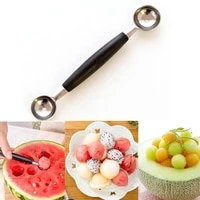 stainless steel ice cream scoop double headed watermelon cantaloupe spoon dig ball fruit salad kitchen tools accessories