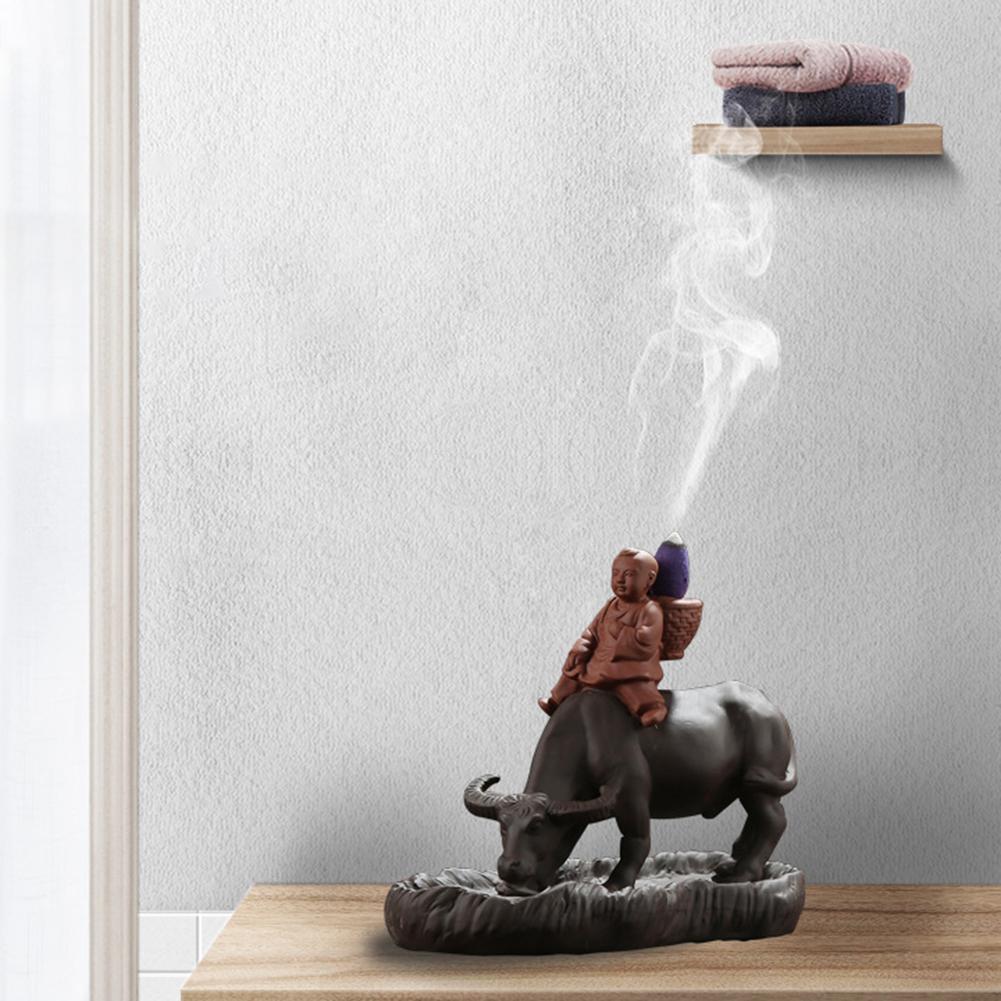 Incenso cachoeira vaca menino cerâmica cachoeira refluxo queimador de incenso titular incenso decoração para casa quemador de inciento