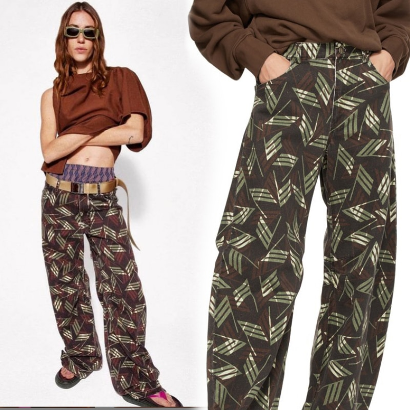 Luxury Designer High End 1:1 spring Abstract Printed streetwear pants women Cotton Active Printed Loose Wide-Leg woman Pants