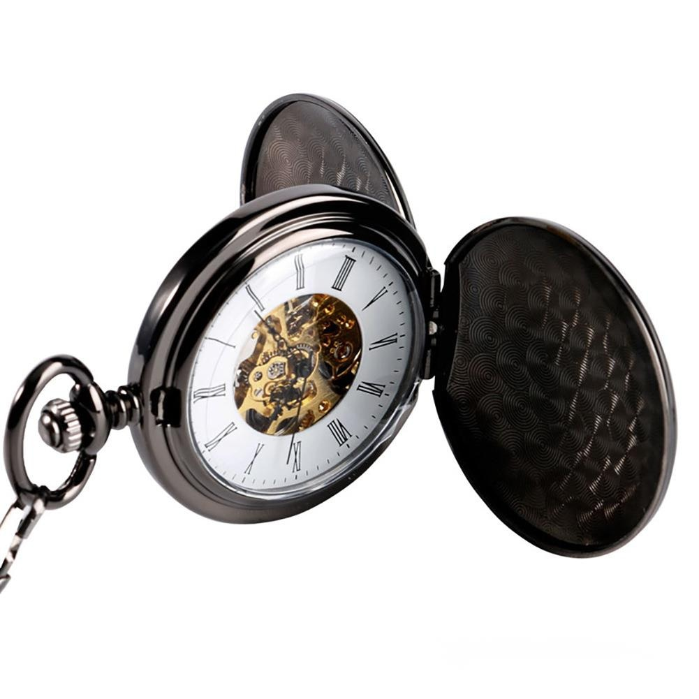Black Double Cover Two Side Light Roman Lettered Manual Mechanical Pocket Watch Men's And Women's Mechanical Watch Fashion enlarge