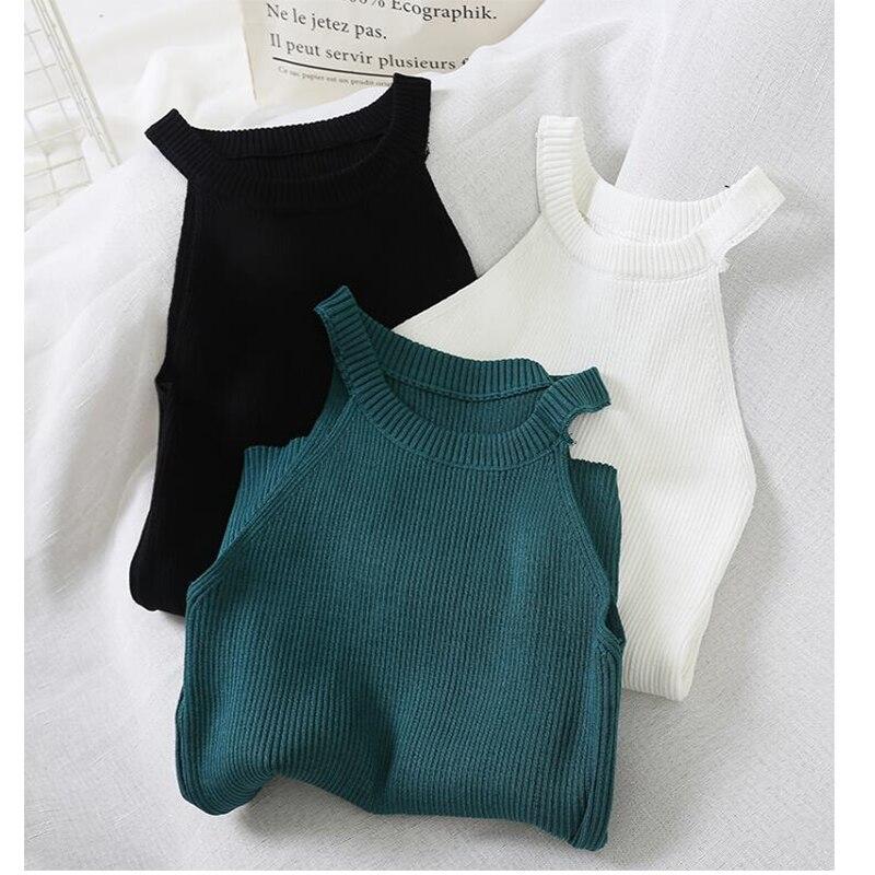2020 moda de malha sling vest feminino caqui mistura o-pescoço simples elástico parte inferior estilingue colete malha macia senhora dentro pano