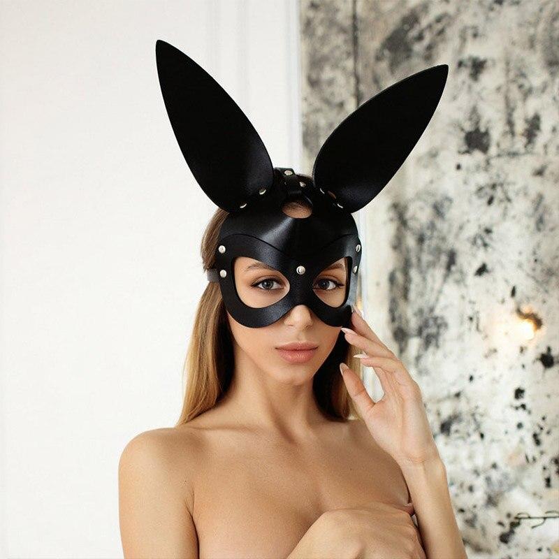Sexy feminino preto coelho orelhas máscara bdsm fetish catwoman couro coelho gato orelhas máscara halloween masquerade festa cosplay traje
