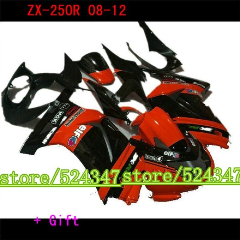 Kit de carenado personalizado moldeado por inyección para Kawasaki 250r 2008-2012 2013 2014 carenados de plástico negro ninja EX250 08-14