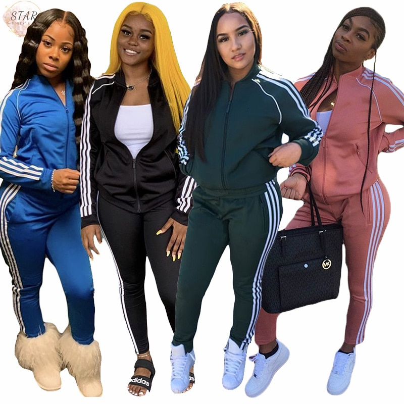 Tracksuits for Women 2 Piece Outfits Zipper Top Sweatpants Sets Casual Stretch Jongging Sport Sweatsuits Wholesale Dropshipping