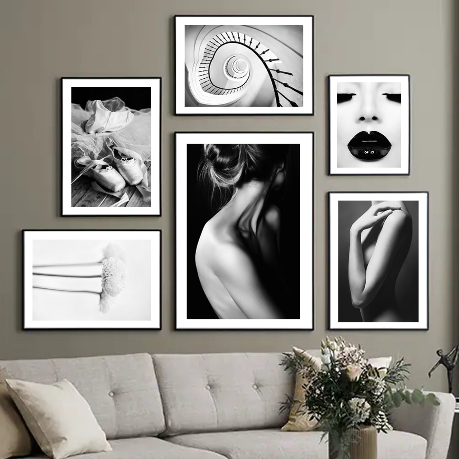 Nordic Vintage Poster Black White Fashion Sexy Ballet Girl Flower Wall Art Print Canvas Painting Decor Pictures For Living Room