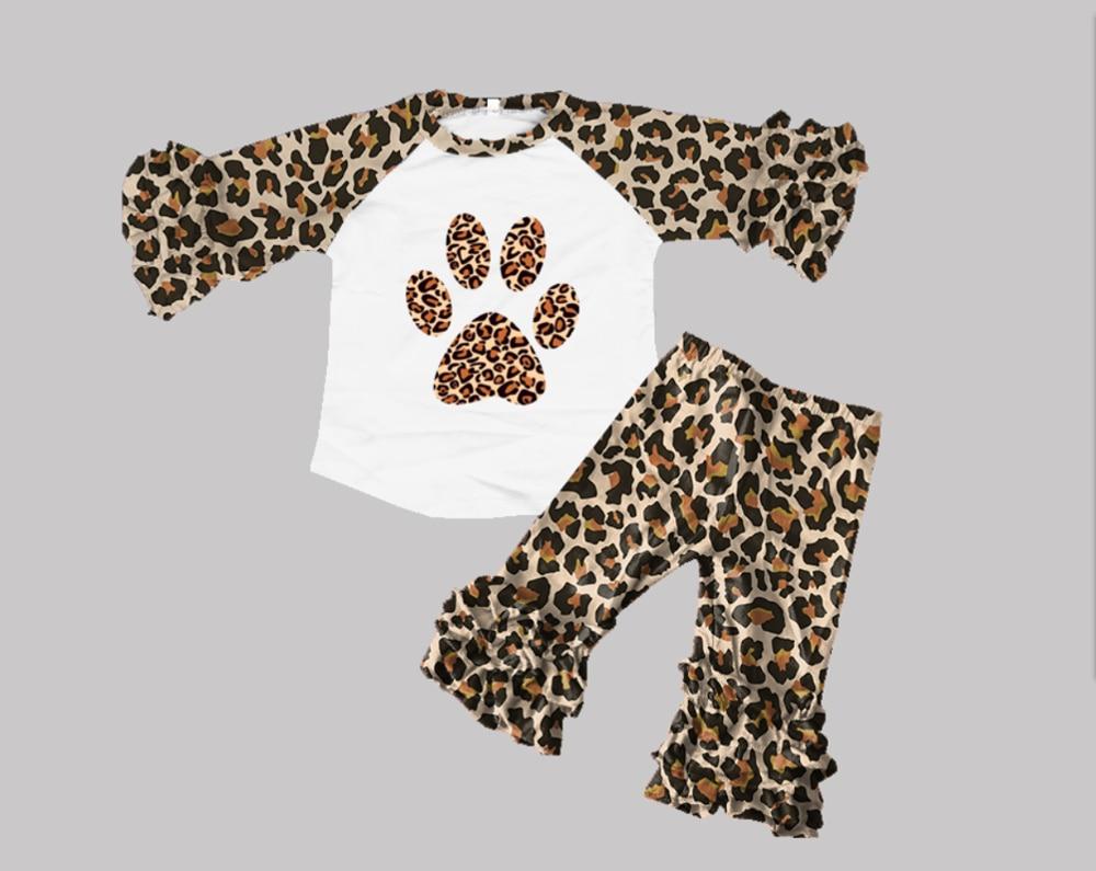 ملابس أطفال قطنية 100 ٪ ، ملابس علوية راجلان للفتيات ، بلايز مكشكشة بطبعة جلد الفهد ، أطقم بنطلون مكشكش