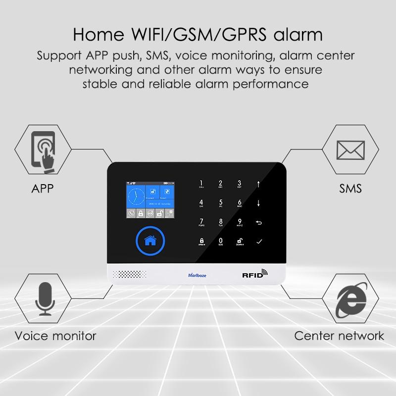EN RU ES PL DE Switchable Wireless Home Security WIFI GSM GPRS Alarm system APP Remote Control RFID card Arm Disarm enlarge