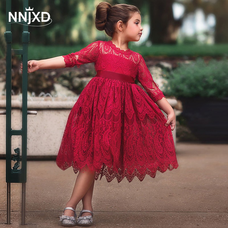 Kids dresses for Girls Spring Clothes Half-sleeve Lace Party Costume Red Children Elegant Prom Frock
