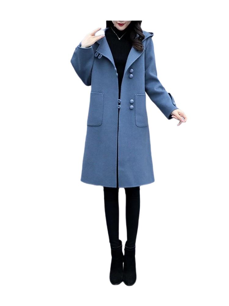 Фото - Женское шерстяное пальто, Свободное пальто средней длины с капюшоном и длинным рукавом, шерстяное пальто с отложным воротником, 2021 пальто средней длины с капюшоном