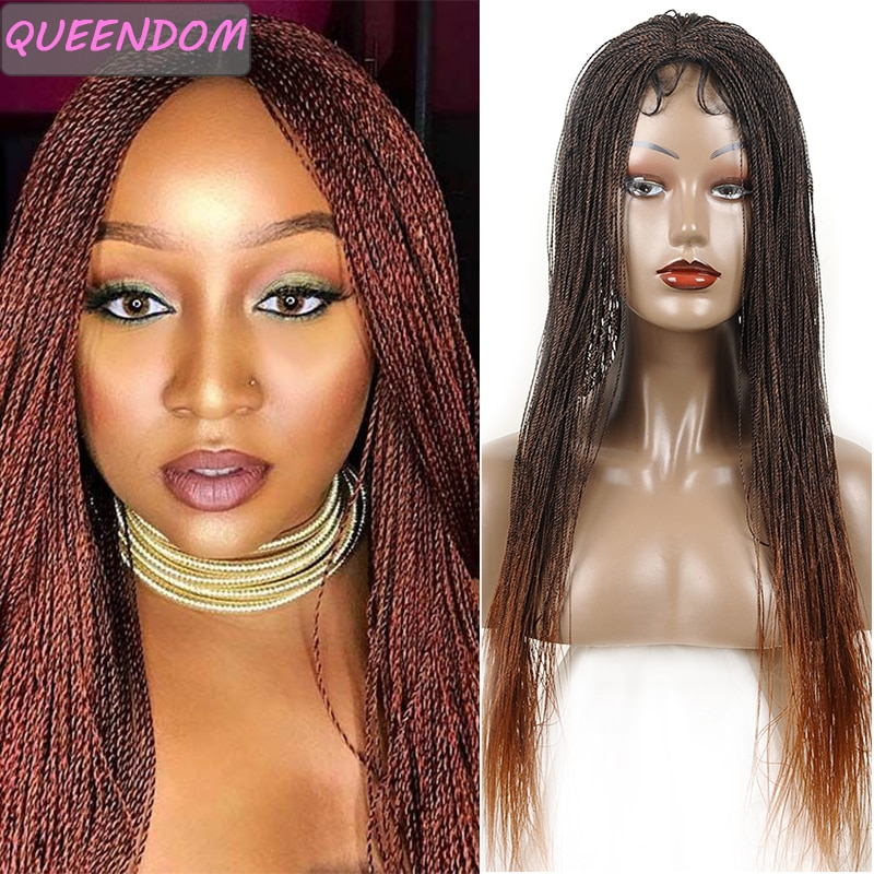 Ombre Afro Twist Braided Wigs for Women 30 inch Senegalese Twist Lace Front Wig Heat Resistant Synthetic Long Micro Braided Wig