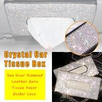 Tissue Box Crystal Car Tissue Box SunVisor Diamond Leather Auto Tissue Paper Holder Case Sunvisor Hanging Napkin Car Accessories