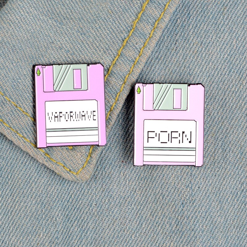 XEDZ new simple pink square billboard mobile phone memory card creative letter PORN VAPORWAVE metal enamel pins