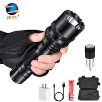 zhiyu rechargeable tactical led flashlight 8000lm led l2 tactical torch super bright hunting light waterproof for 18650 battery