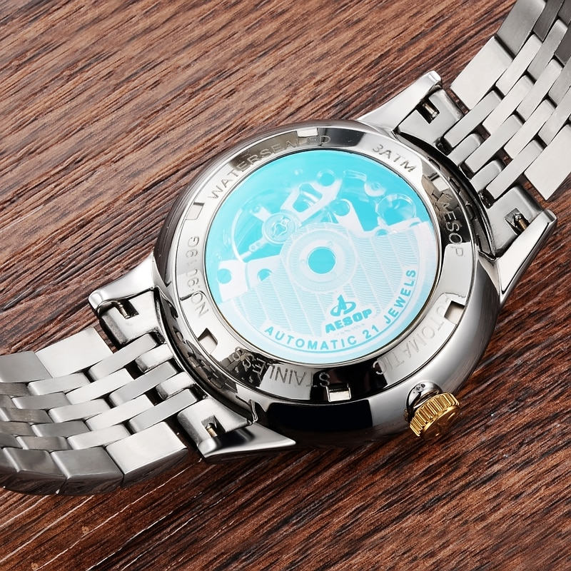 AESOP Brand Waterproof Gold Business Watch Fashion Luminous Moon Phase Mechanical Wristwatch Automatic For Men Relogio Masculino enlarge