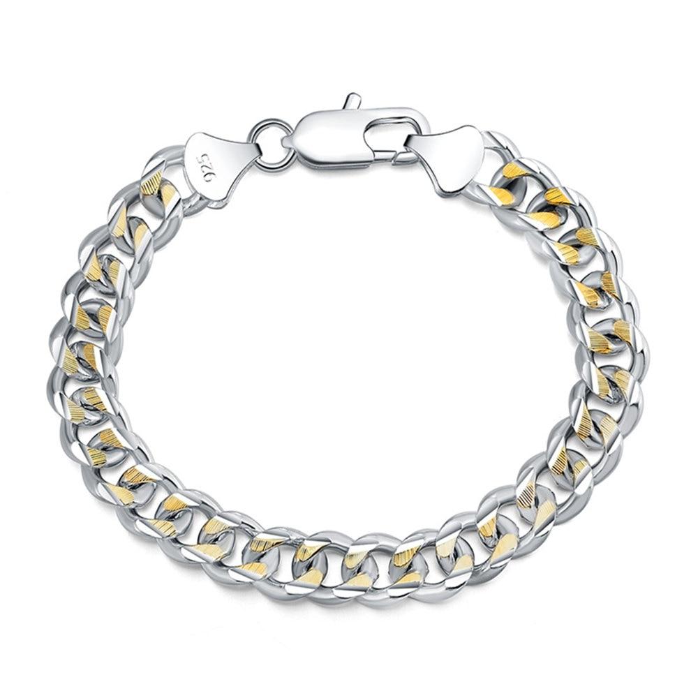 Hip Hop Men's Bracelet 925 Silver Sideways Cuban Bracelet 10MM8''