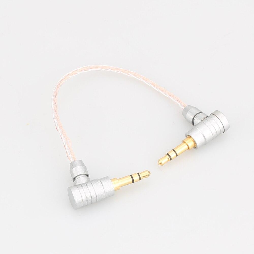 Audiocrast hc011 3.5mm a 3.5mm cabo aux 8 núcleo occ cobre prata macho para masculino áudio atualização do carro fone de ouvido telefone celular 15cm