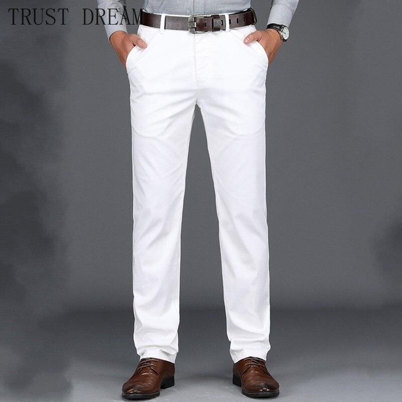 Белые мужские джинсы прямые Классические хлопковые мягкие джинсовые брюки тонкие Стрейчевые мужские повседневные брюки Hombre Homme качественн...