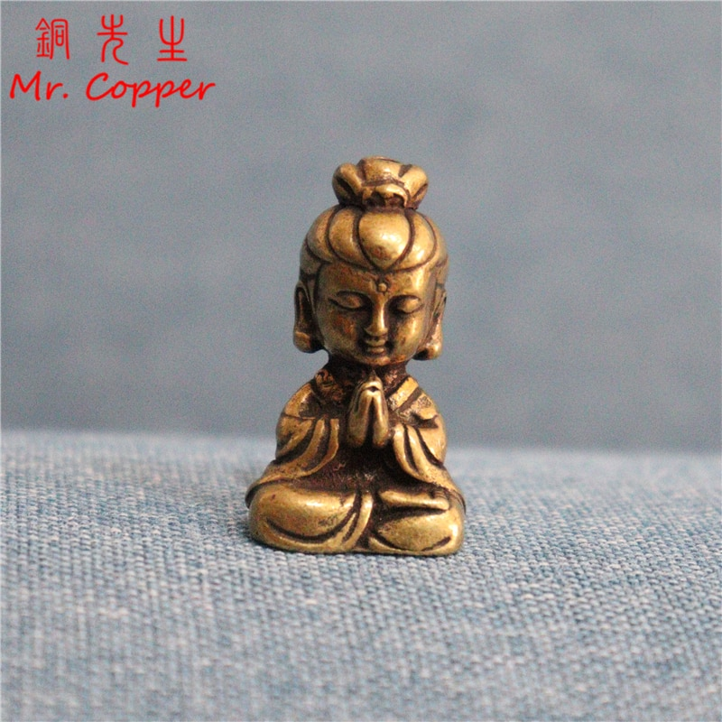 Мини медная статуя Будды Гуаньинь, украшение для маленького автомобиля, украшение для дома, аксессуары, религиозные скульптуры, украшение для гостиной, рабочего стола