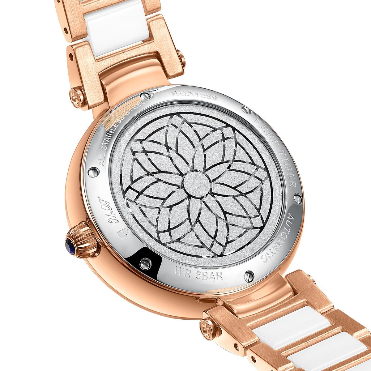 Reef Tiger/RT Fashion Lily Women Watch Rose Gold Diamonds Bezel Lady Automatic Watches Relogio Feminino RGA1599 enlarge