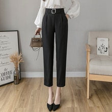 Casual Suit Pants Women's Spring/Summer 2021 New High Waist Show Thin Black Pants Straight Cropped T