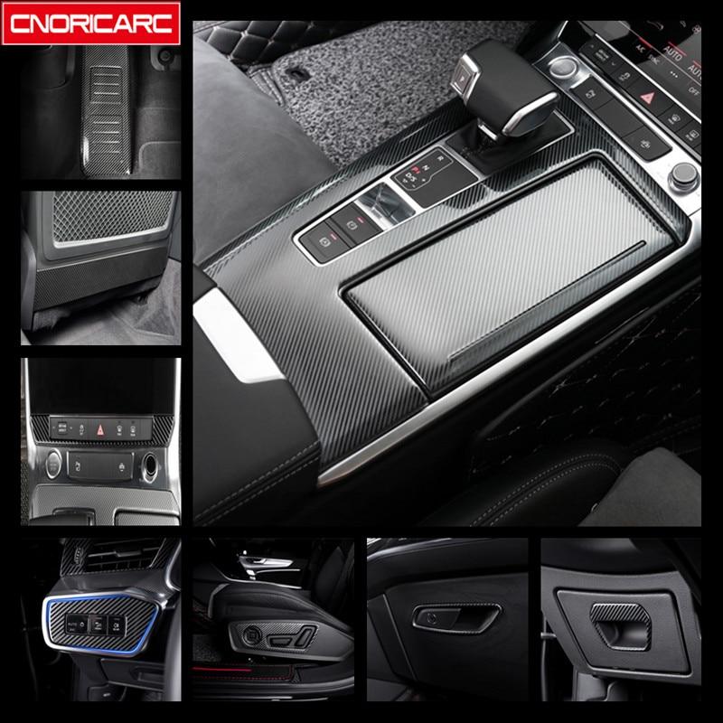 Embellecedor de cubierta de Panel Central de acero inoxidable Gearshift para Audi A6 C8 2019, decoración de marco de botón de consola Central de Color de fibra de carbono