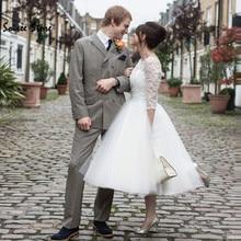 Retro Short Wedding Dress With Sleeves White Boho Tea Length Wedding Dresses Lace Tulle Beach Wedding Dress 60s Country Skirts