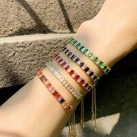 funmode hot sale tennis chain multicolor baguette cubic zircon bracelets for women charm adjustable bracelets party gifts fb38