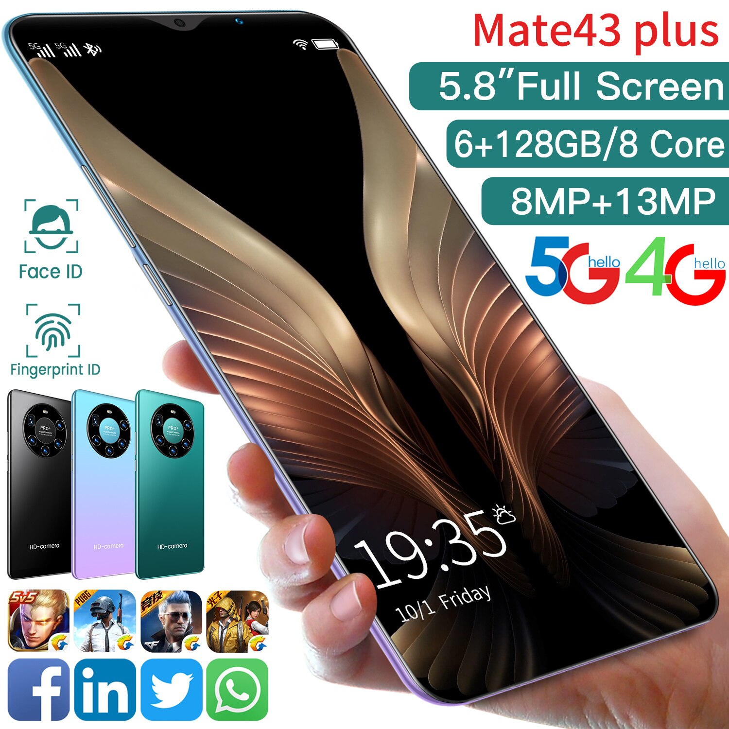 Global Version Mate43 Puls 5.8 Inch 6GB RAM 128GB ROM 8+13MP Andriod 10 Smartphones 10 Core MTK6780A