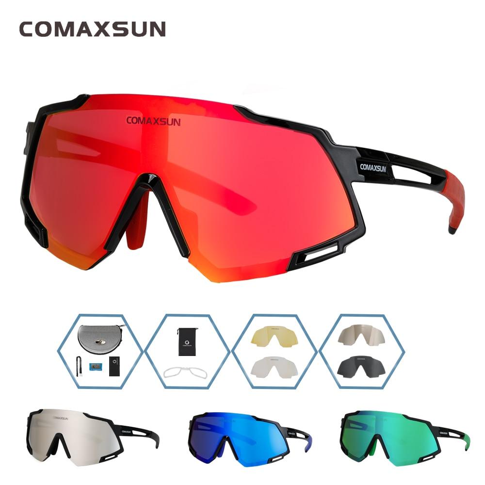 COMAXSUN Professional Polarized 5 Len Cycling Glasses MTB Road Bike Sport Mirror Sunglasses Riding Eyewear UV400 Bicycle Goggles
