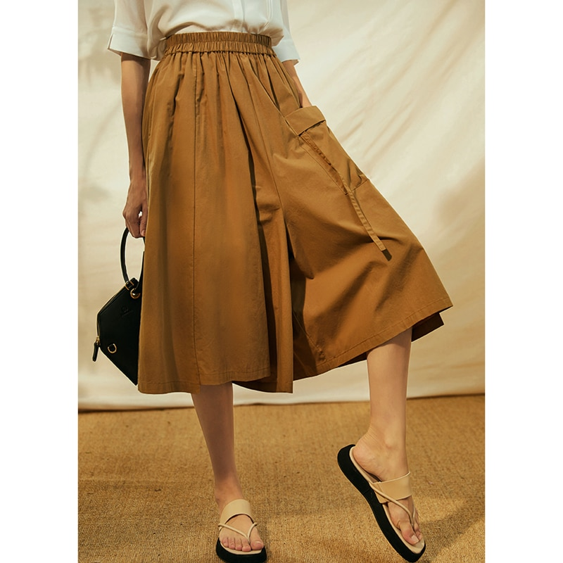 Pants Women Casual Style 100% Cotton Wide Leg Elastic Waist Pocket Solid 2 Colors High Quality Ladies Pants New Fashion