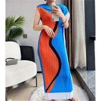 miyake fold fashion irregular design sense printed dress 2021 women summer new sleeveless straight vest long dress women dress