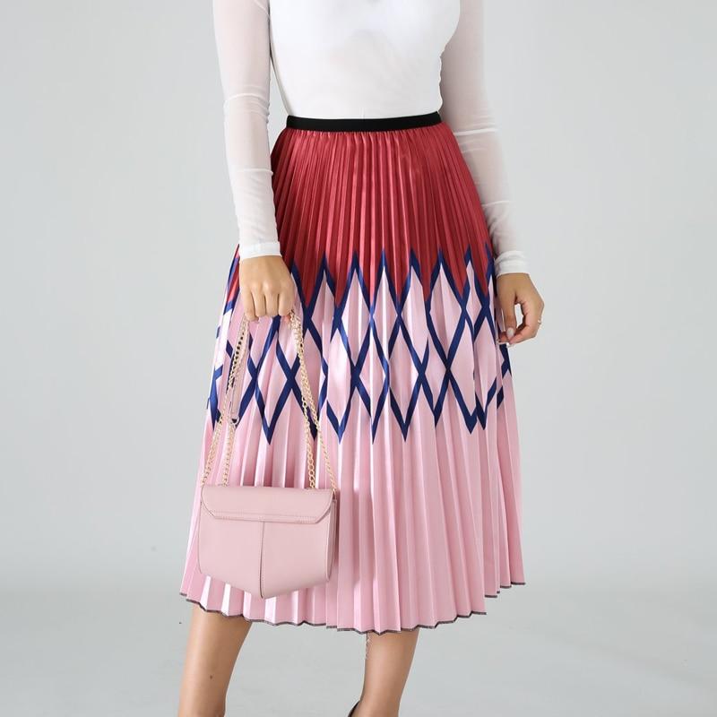 Summer new women's colorful print skirt big swing pleated skirt urban casual pleated cake skirt