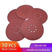 10pcs sanding abrasive discs 9inch 225mm 8 hole hook and loop sanding discs aluminum oxide sand paper for drywall finishing
