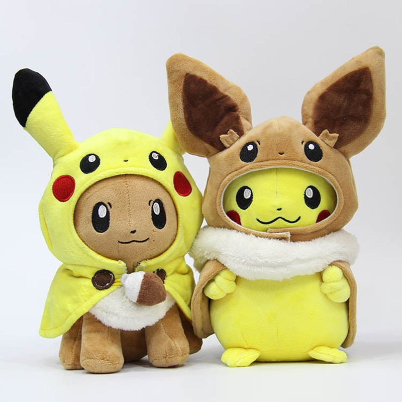 28-30cm Animals Pikachu Cosplay Eevee Plush Stuffed Dolls Eevee Cosplay Pikachu Toys Kids Gift Free
